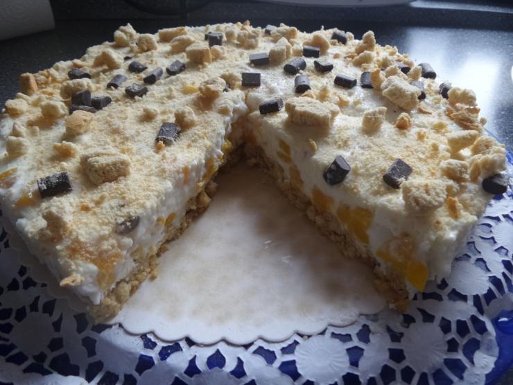 Knusprige Pfirsich Frischkase Torte Mit Zwieback Boden Konsumgottinnen